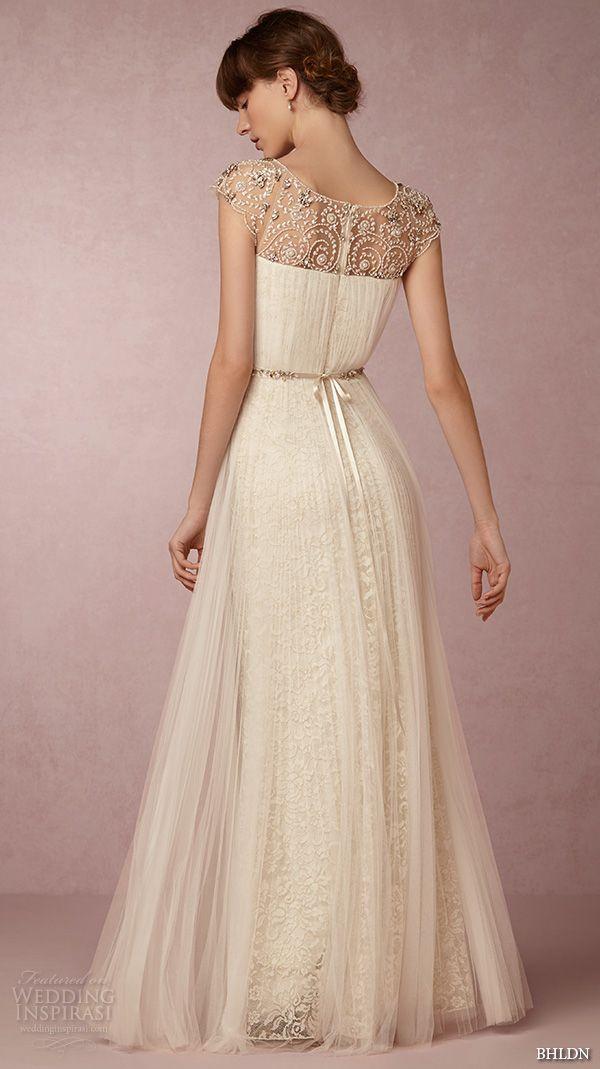 bhldn spring 2016 cap sleeves illusion jewel straight across beaded neckline vintage romantic tulle a line wedding dress beaded back (tiernan) bkv