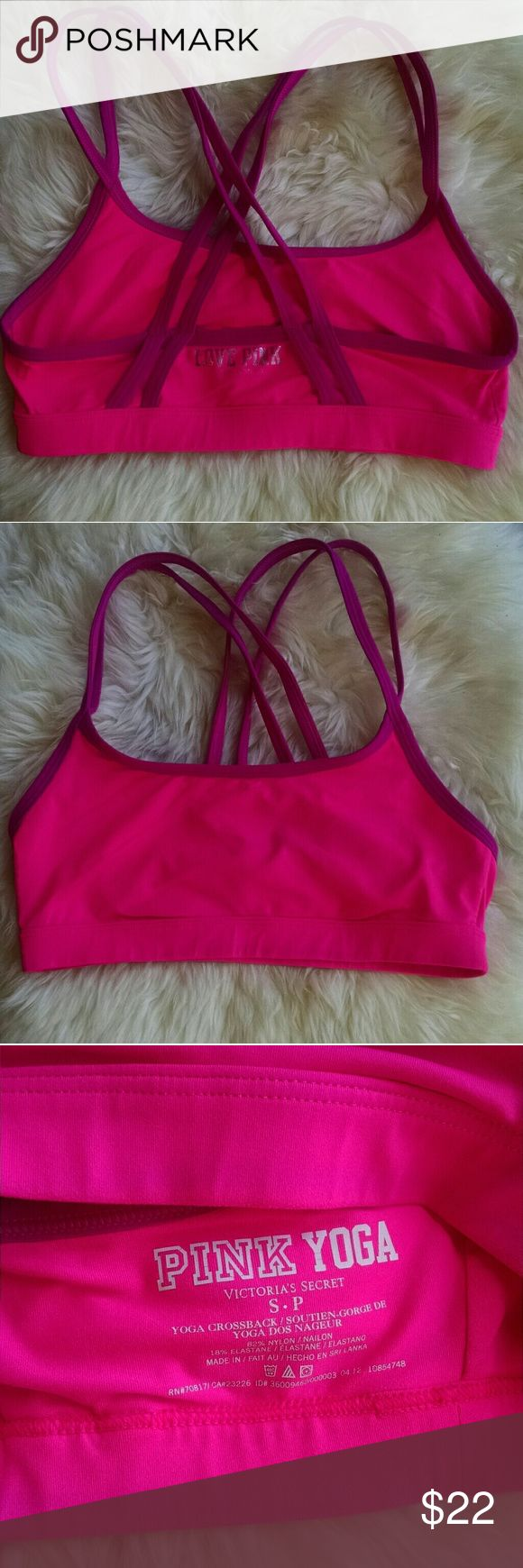 VS PINK Yoga Sports Bra with Cross Straps in Back Super cute and comfy. Pink with a darker pink/magenta color straps. PINK Victoria's Secret Intimates & Sleepwear Bras