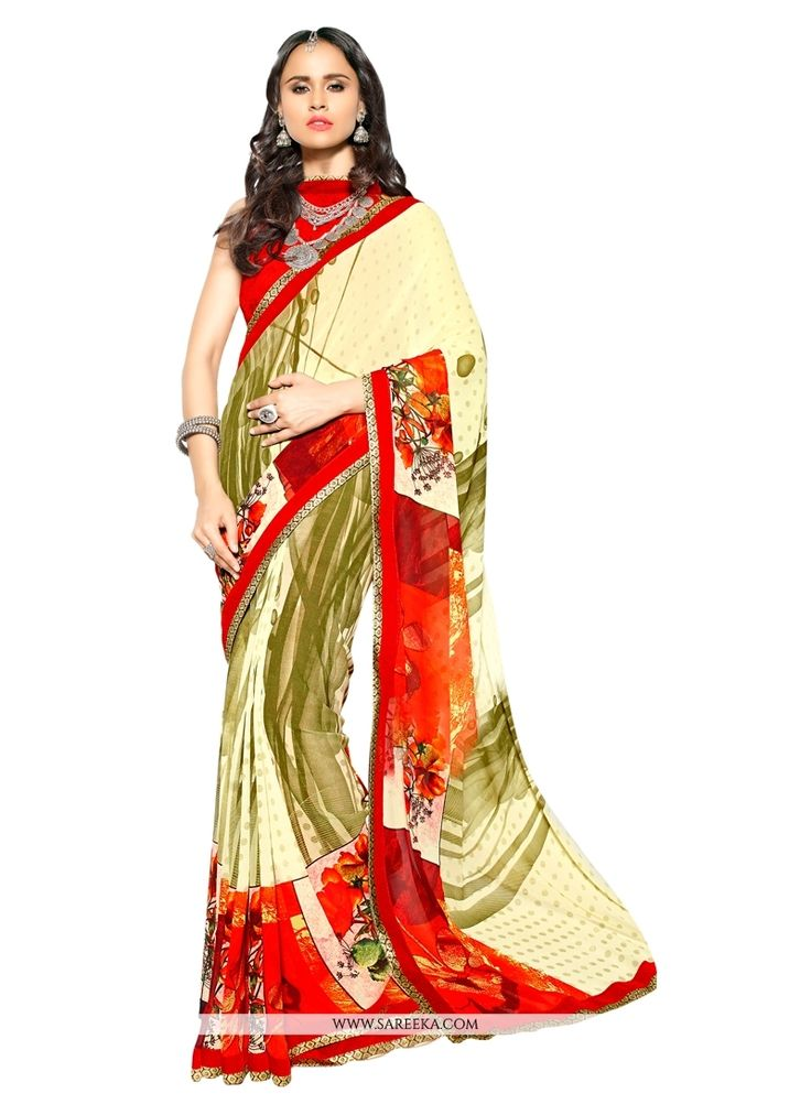 Get going with this majestic and wonderful piece and make your dream attire look richer to your persona. Make the heads turn when you dress up in this charming multi colour faux georgette casual saree...