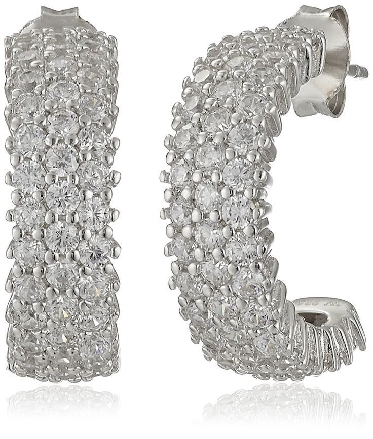 Charles Winston Sterling Silver and Cubic Zirconia Hoop Earrings -- Want additional info? Click on the image. (This is an Amazon Affiliate link)