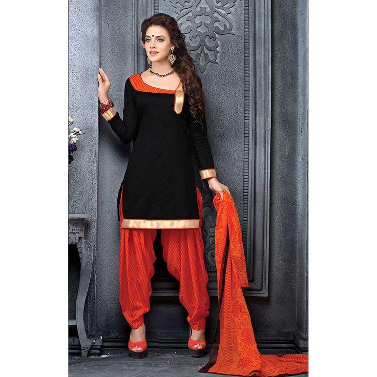 http://www.thatsend.com/ate/shopping/lp/fvp/TESG91326/i/TE111168/iu/black-cotton-patiala-salwar-kameez   Black Cotton Patiala Salwar Kameez Apparel Pattern Plain. Stiching Type Unstitched. Work Plain. Bottom Color Orange. Occasion Festive, Diwali. Top Color Black.