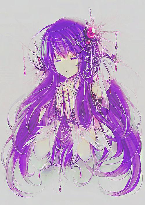 Pretty Anime Girl   Purple Hair   Praying   Art   Beautiful