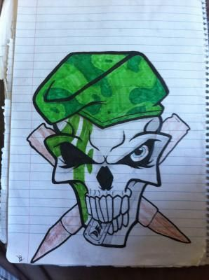 Army Skull Drawing By Fightdor Skull Drawing Drawings