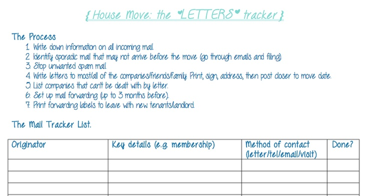 House move guide - free printable to help tackle mail forwarding.