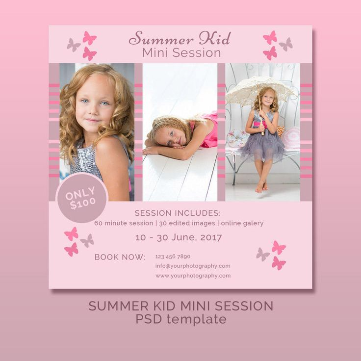 Summer Kid Mini Session / Photographer template / Blog template / Promotional Template by JKBlogBrand on Etsy