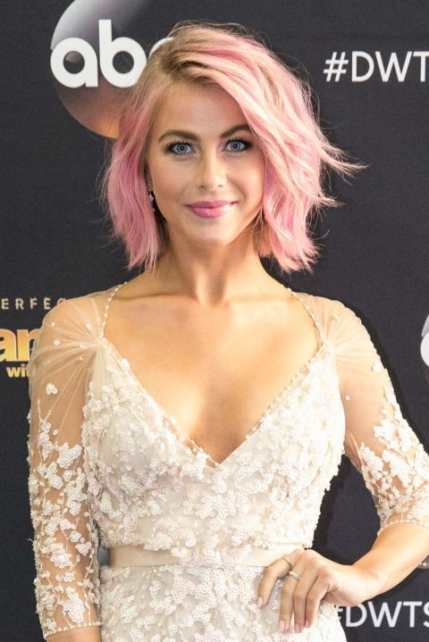 "Julianne Hough The Dancing with the Stars pro writes on her blog, ""It was time to shake things up. So I went… PINK!!!! The world can always be more colorful!"" This hue is one of the more subtle hair colors to try, but if you're still nervous, use a wash out hair dye like Garnier Color Styler Intense Wash-Out in Pink Pop to give it a test drive before committing to a longer-lasting dye."