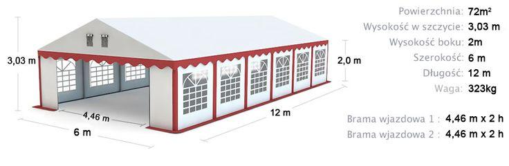 Namiot Handlowy Imprezowy 6m x 12m (72m²) całoroczny STANDARD MAX / Commercial Tent 6x12 Winter