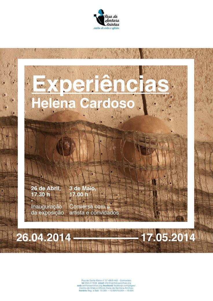 """Poster for artist Helena Cardoso's exhibition """"Experiências"""" that took place in April 2014 at Arts & Crafts Center Casa da Senhora Aninhas designed by João Fonseca, graphic designer."""