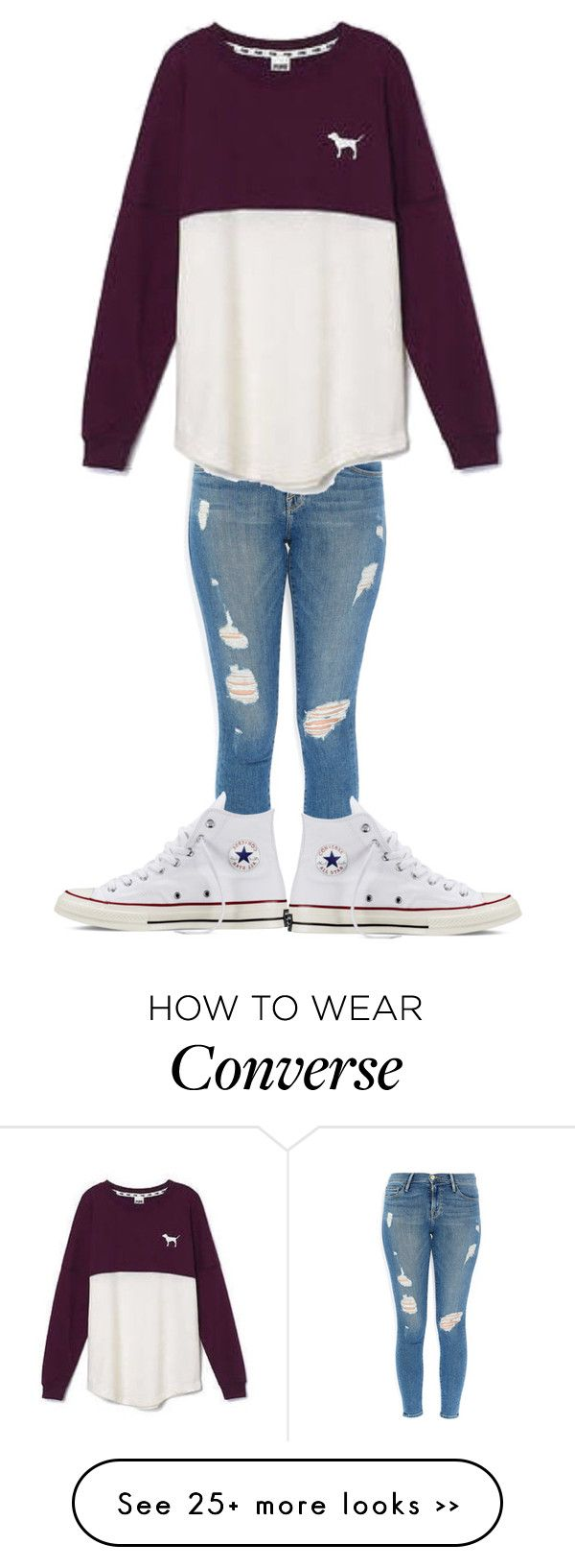 """Untitled #256"" by sonjakolecki on Polyvore featuring Frame Denim, Victoria's Secret and Converse"