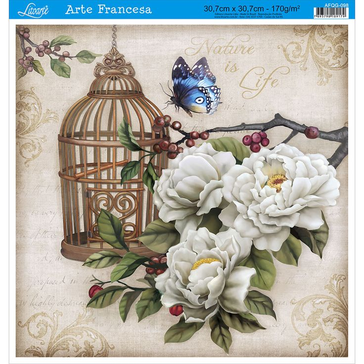 Papel para Arte Francesa Litoarte 30,7 x 30,7 cm - Modelo AFQG-098 Gaiola Borboleta Azul - CasaDaArte