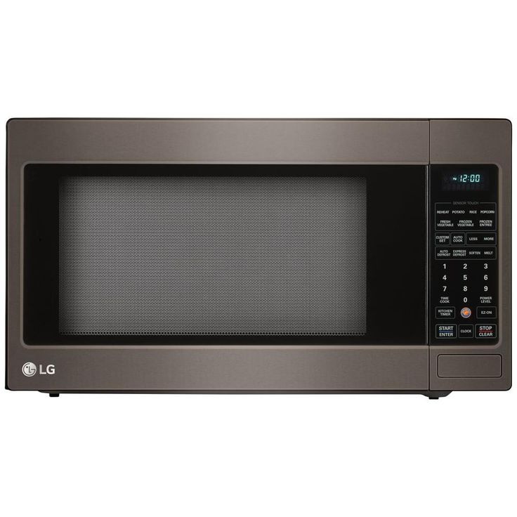countertop microwave oven in black stainless steel