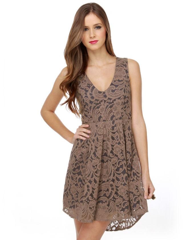 Jousting for Jocelyn Brown Lace Dress