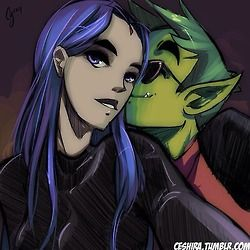 raven and beast boy selfie dc comics