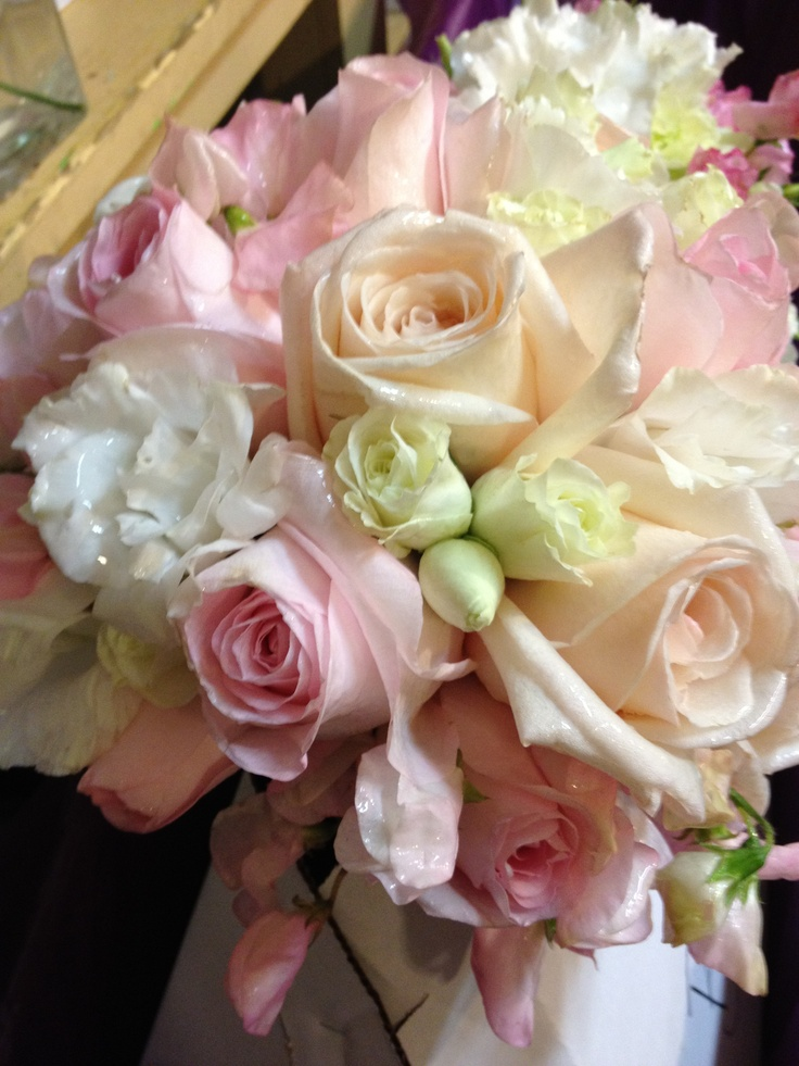 Light Pink Roses Wedding Bouquets : Wedding bouquet light pink and pale peach roses