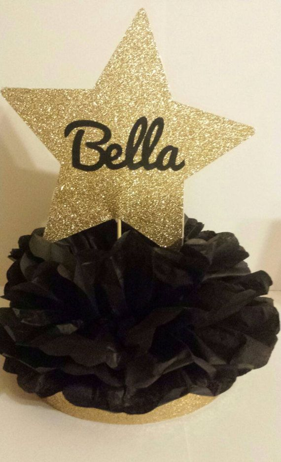 Personalized Glitter Gold or Silver Star birthday party table centerpiece Perfect for a movie night theme, Hollywood theme or fashion party! Super cute!