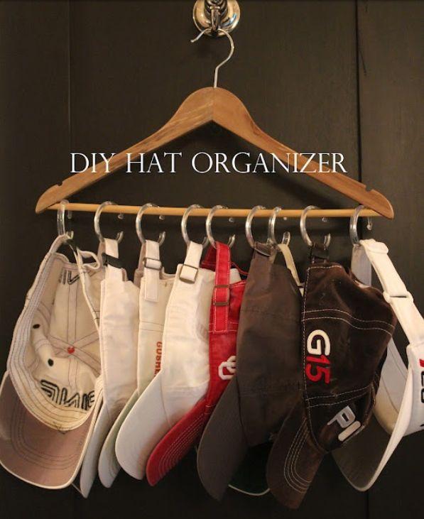Vintage Shop Inspiration •~• hanger + shower curtain rings as hat display