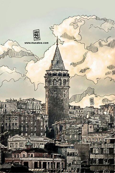 Galata tower. Istanbul. Homeland. Beautiful sketch.