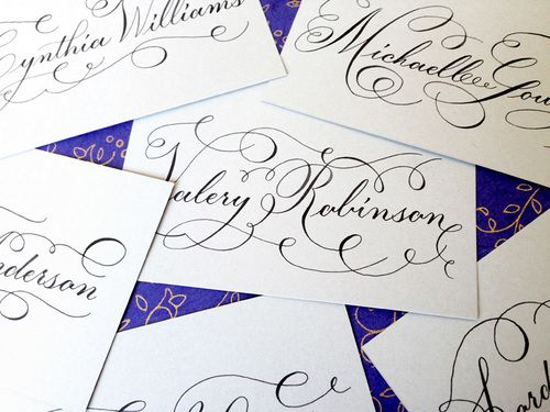 Letters By Anat wedding calligraphy. Swirls place card with black ink