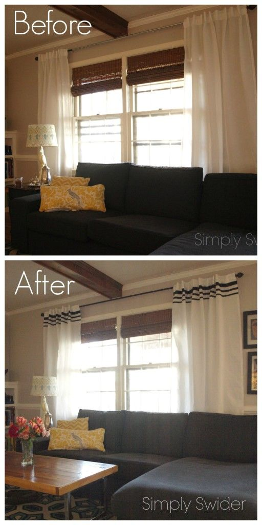 How to dress up plain white vivan Ikea curtains with ribbon stripes - Simply Swider