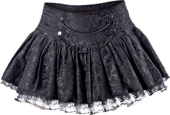 A gothic miniskirt by Queen of Darkness, made from black damask pattern fabric and tulle, detailed with branded buttons and black metal chains on the front. Zipper closure in the back.