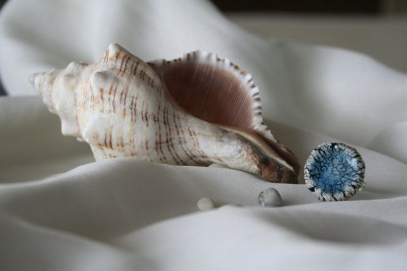 Crackled Ceramic Ring with Blue Enamel by ouph on Etsy