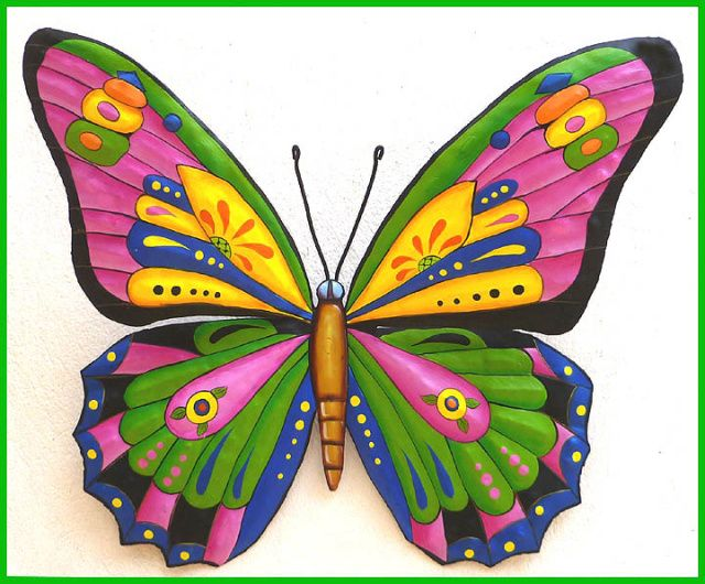 227 best butterflies hand painted metal butterfly wall for Butterfly design on wall