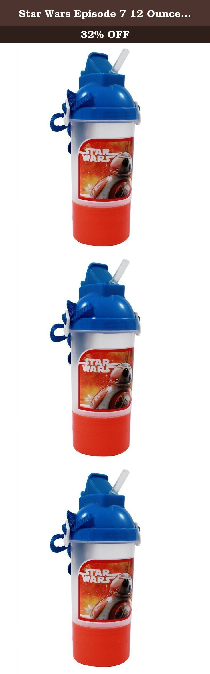 Star Wars Episode 7 12 Ounce Water Bottle and Snack Holder Canteen. Snack time is easy with this Star Wars Episode 7 12 Ounce water bottle and snack storage container. Ideal for Star Wars fans of any age, this water bottle and snack storage container will allow you to easily bring along a drink and snack wherever your day takes you. This would be perfect for kids to take to school for lunch or snack time. The water bottle holds 12 ounces of a drink of your preference and is 8 inches in...