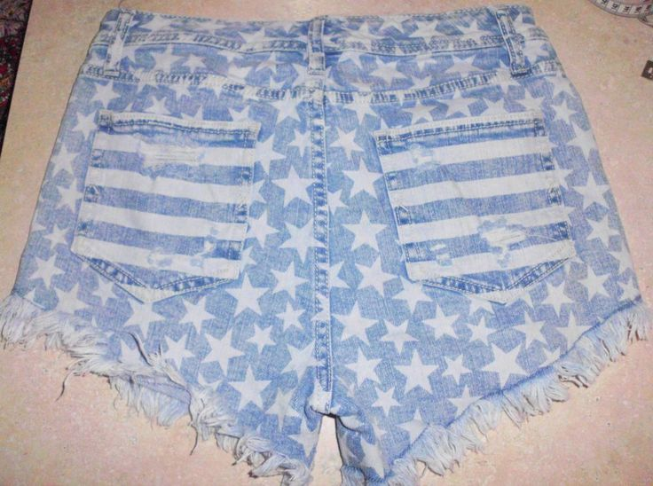 MOSSIMO Denim Destroyed High Rise Stretch Star Print Jean Mini Short Shorts Sz 8 #Mossimo #MiniShortShorts