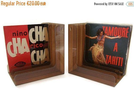 NOW ON SALE Vintage vinyl record holder for singles record storage Set of 2 (17.00 EUR) by VintageBreda