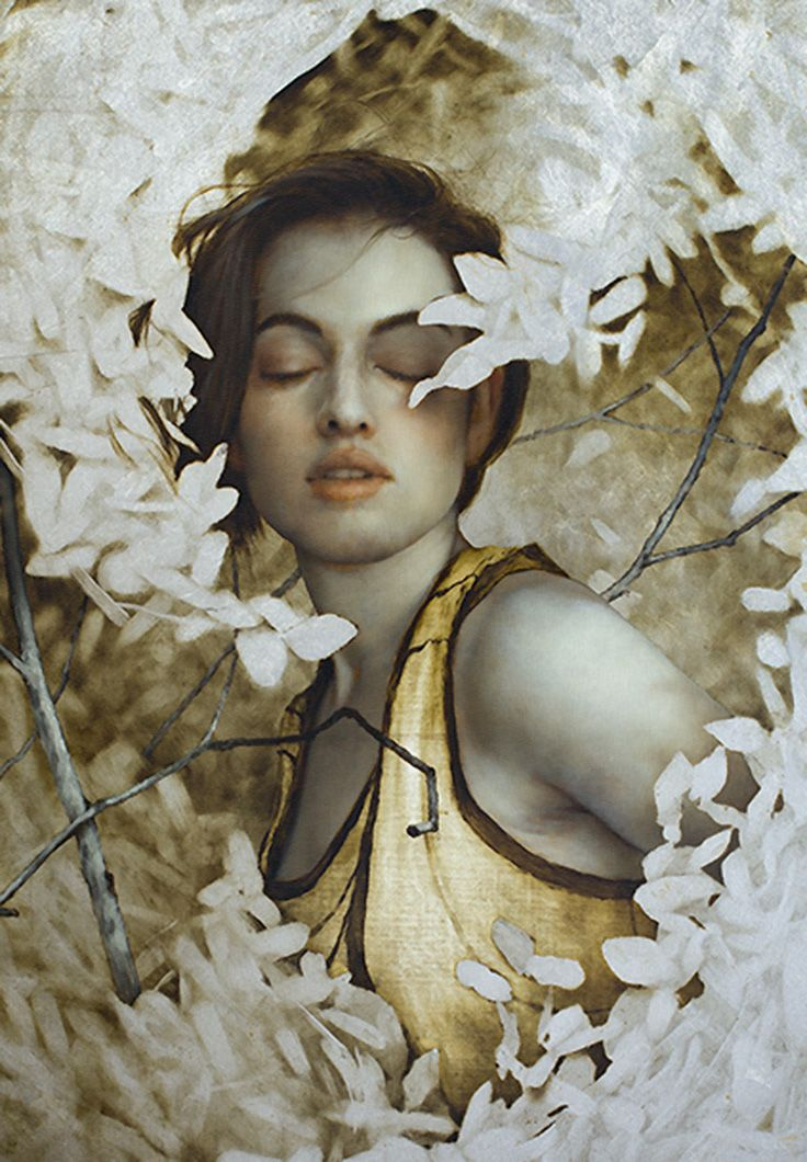 """Woven"" - Brad Kunkle, oil, gold and silver on linen, 2016 {figurative realism art beautiful female head shoulder flowers woman face portrait leaves cropped painting #loveart #2good2btrue} bradkunkle.com"
