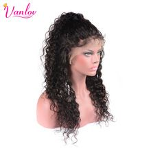 Vanlov Water Wave Lace Front Human Hair Wigs Water Wave Brazilian Non Remy Hair Wig With Baby Hair 130% Swiss Lace Natural Color(China)