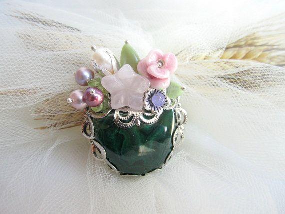Malachite brooch gemstones brooch floral by MalinaCapricciosa