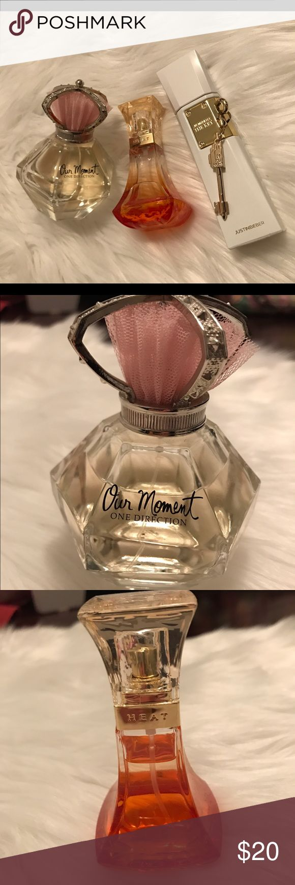 Three Celebrity Perfumes Bundle Justin Bieber The Key, Beyonce Heat Rush, One Direction Our Moment. All perfumes have barely been used with most left in bottle. You can see how much is left in Our Moment and Heat Rush. Makeup