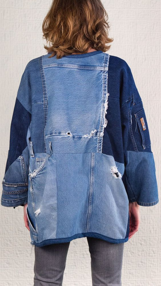cut past repaired retooled denim ,vintage look
