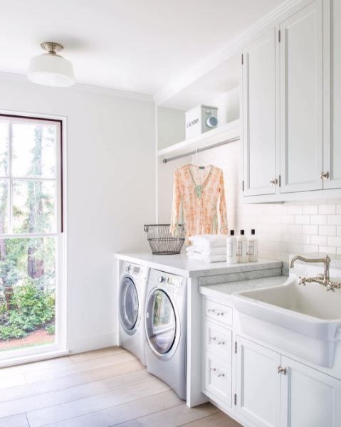 Beautiful White Laundry Room Shared By Velvet And Linen