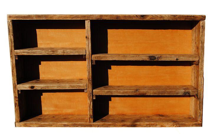 libreria da terra o da appendere alla parete. legno antico naturale. ripiani in legno massiccio. artigianale. su misura. design industriale.