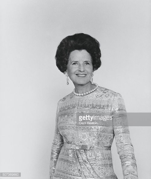 Rose Fitzgerald Kennedy funny | Standing portrait of Rose Kennedy wearing a gold damask dress pearls ...