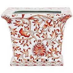 Orange Floral Square Porcelain Cache Pot