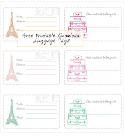 Free Printable - Luggage Tags