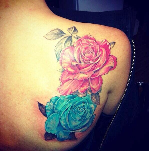 Colored Rose Tattoos From Under The Rose Inc Cool Tattoos