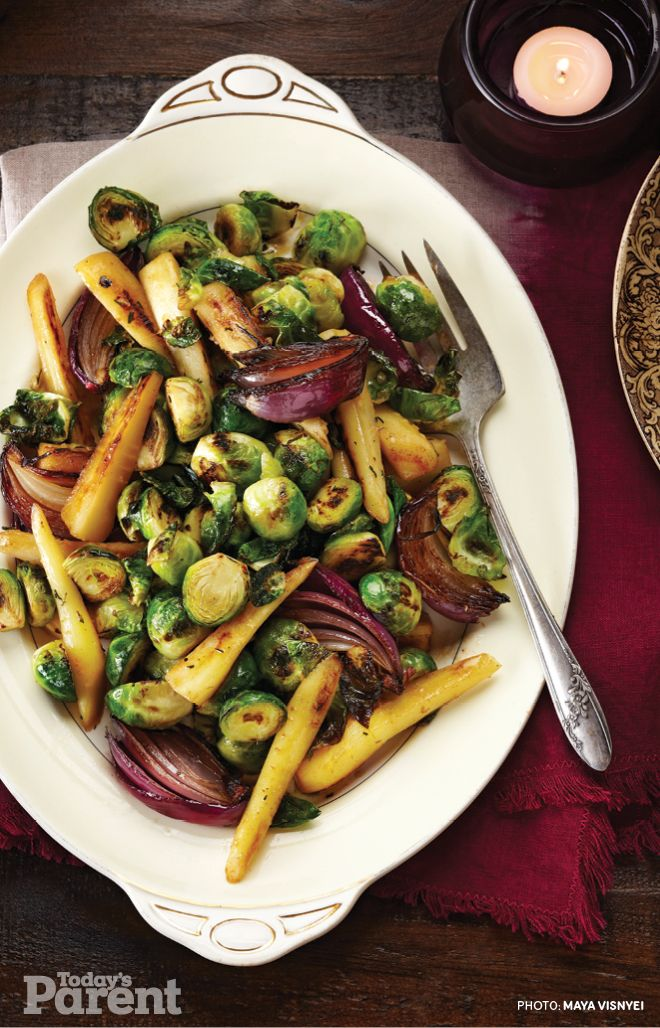 Pan-roasted Parsnips and Brussels Sprouts #TodaysParent #KidApprovedRecipes #Thanksgiving