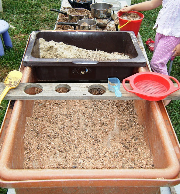 Using sand as something else for example, as kitchen will help their imagination and interacting with them and their peers will help their physical development and well their social-emotion.