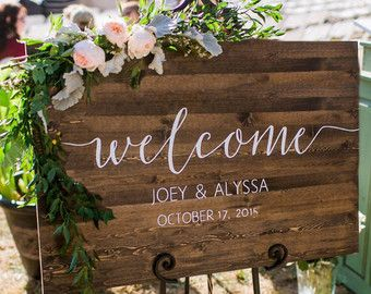 Welcome sign for the ceremony entrance