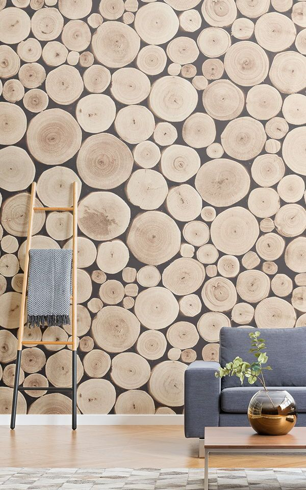 Stacked Logs Wallpaper Wood Effect Design Muralswallpaper Wood Effect Wallpaper Cedar Walls Light Colored Furniture