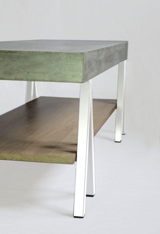 """Archiblack en mode """"white"""". C'est la même...mais en différente! plateau béton fibré, structure acier, tablette chêne. www.m-trend.fr M'trend - Luminaire et mobilier"""