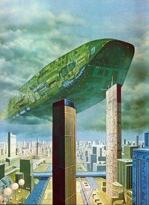 As ilustrações de ficção científica vintage com naves espaciais de Terran Trade Authority
