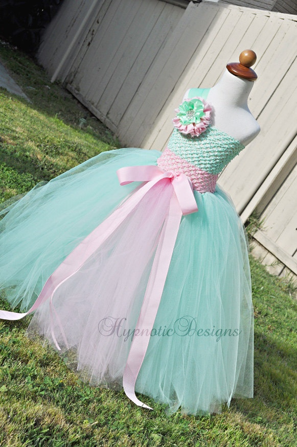 Princess - Flower Girl - Tutu Dress - Pink and Mint Green - Size 18-24 months. $65.00, via Etsy.