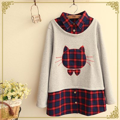 Fashion grid splicing fake two piece fleece pullover