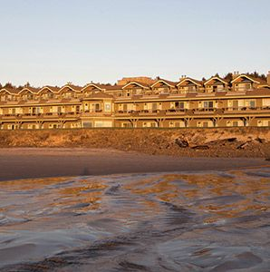 Stephanie Inn Hotel at Cannon Beach Oregon- Shingled hotel overlooking the famous Haystack Rock; the 41 rooms are equipped with fireplaces an...