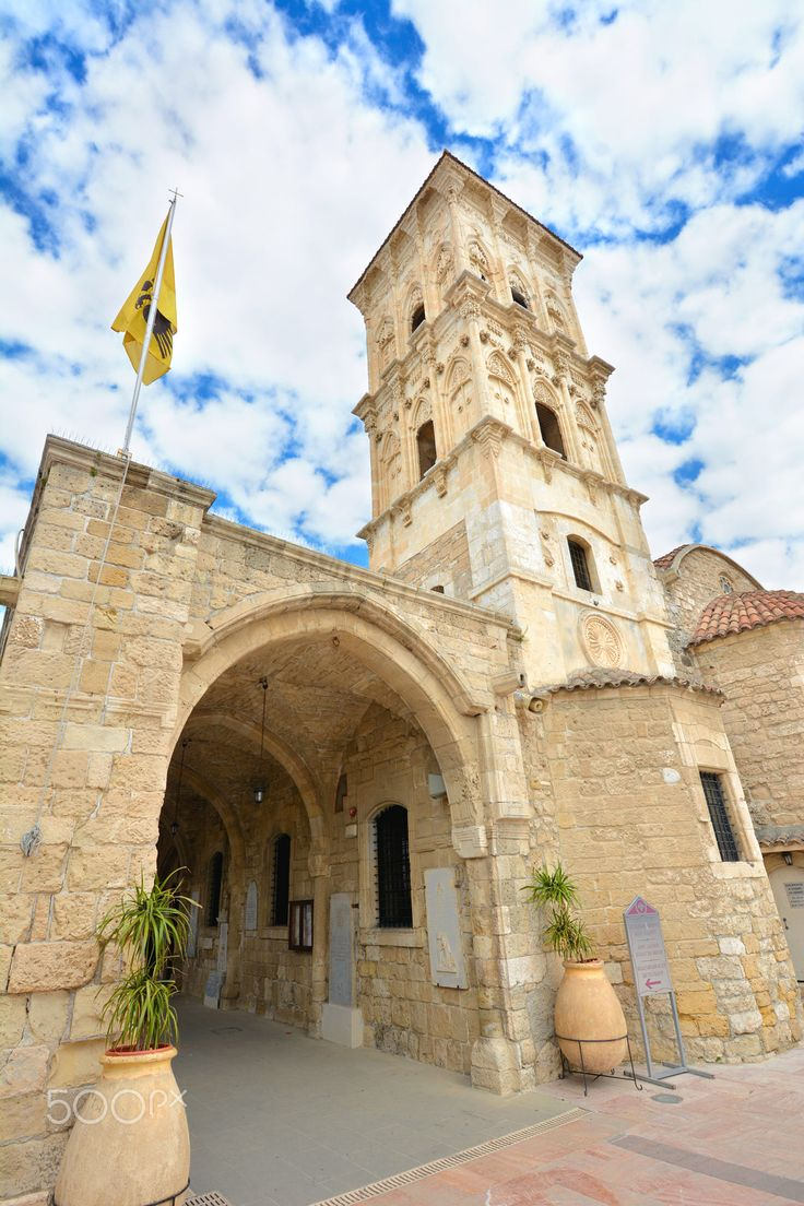 The St. Lazarus church in the center of the old town of Larnaca city on Cyprus island with blue sky and clouds on background.